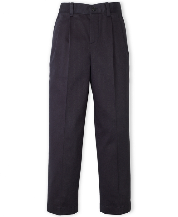 Pleat-Front Non-Iron Chinos Navy