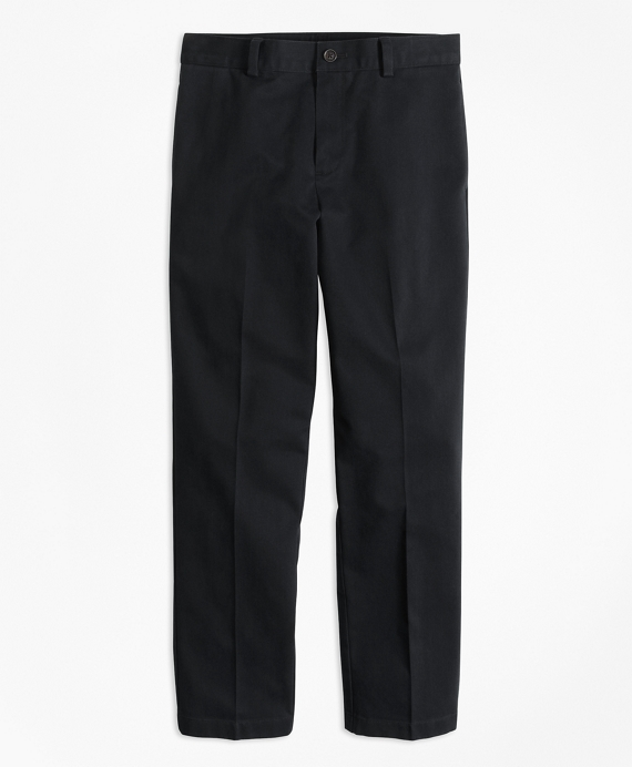 Plain-Front Non-Iron Chinos Black
