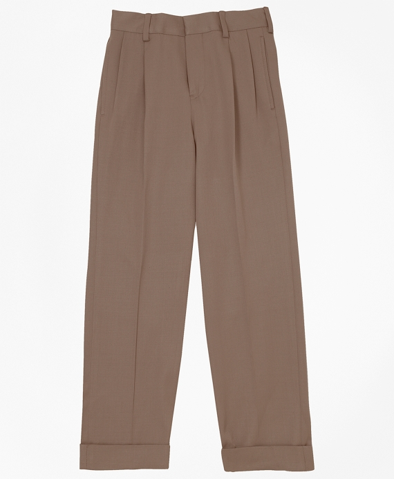 Pleat-Front Gabardine Prep Trousers British Tan