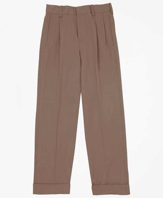Pleat-Front Gabardine Junior Trousers British Tan