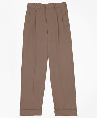Pleat-Front Gabardine Junior Trousers