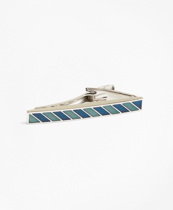 Argyle and Sutherland Stripe Enamel Tie Bar Blue-Green