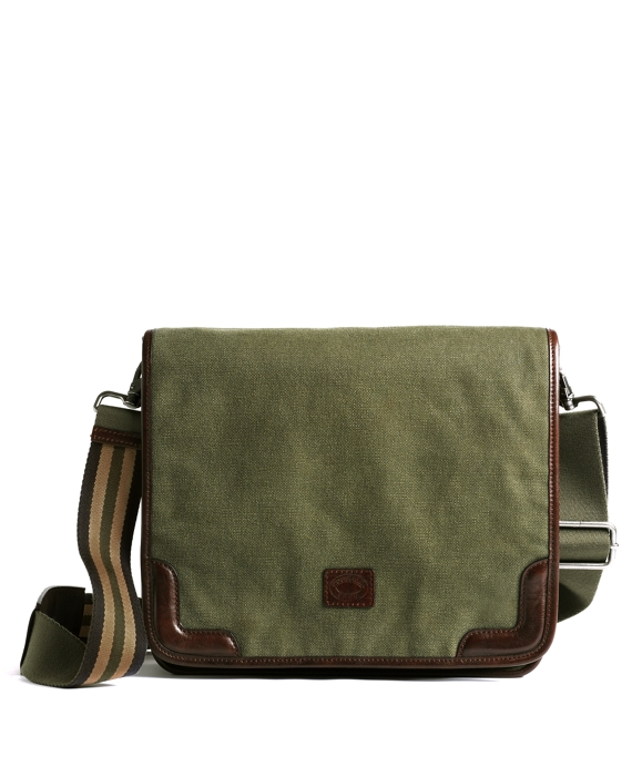 Washed Canvas and Leather Messenger Dark Green