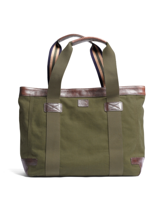 Washed Canvas and Leather Tote Dark Green