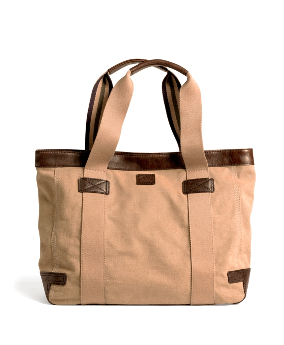 Washed Canvas and Leather Tote Khaki