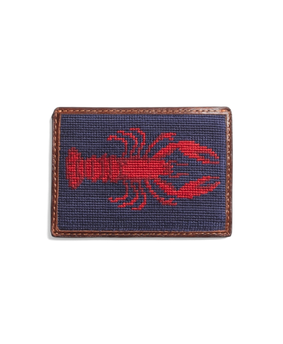Needlepoint Lobster Card Case Navy