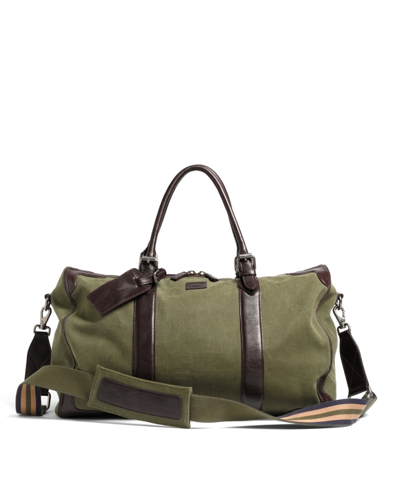 Washed Canvas and Leather Duffel Dark Green