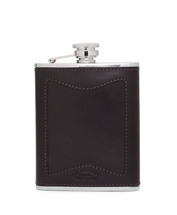 Filson® Leather and Stainless Flask Dark Brown