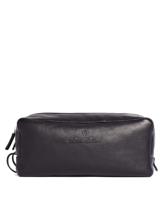 Leather Double-Zip Travel Case Black