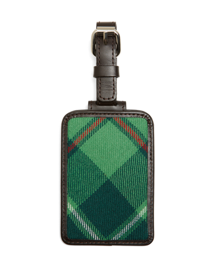 Green Plaid Luggage Tag