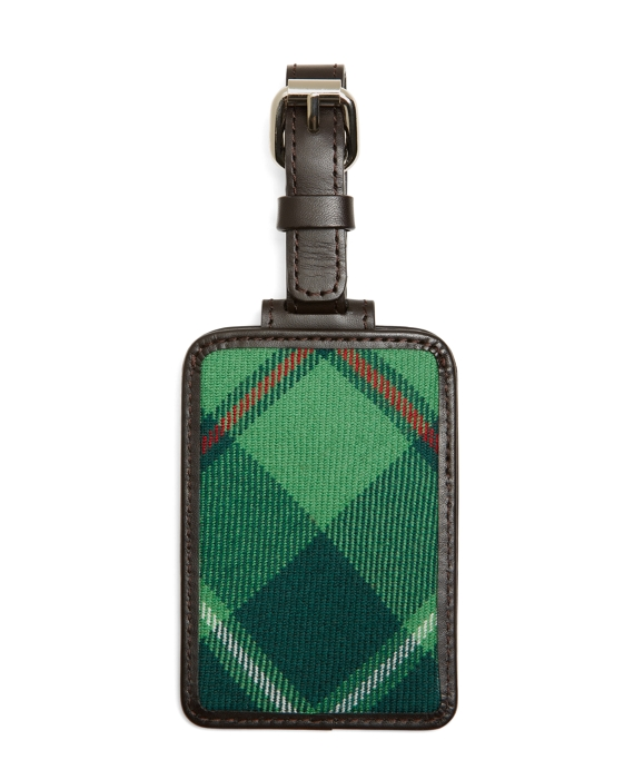 Green Plaid Luggage Tag Green Multi