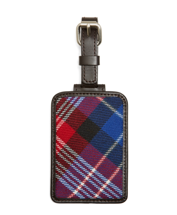 Red, White and Purple Plaid Luggage Tag Red Multi
