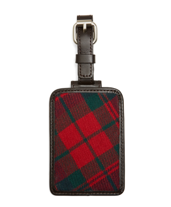 Red and Navy Plaid Luggage Tag Red Multi