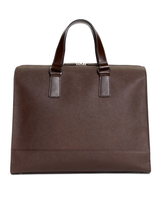 Saffiano Leather Slim Briefcase Brown