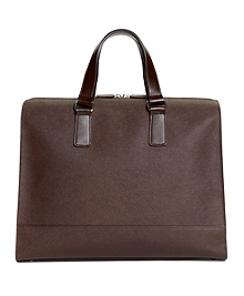 Saffiano Leather Slim Briefcase