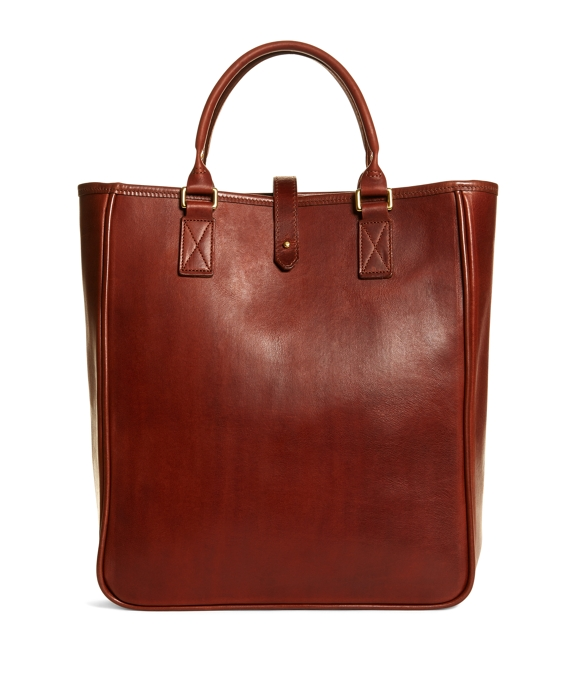 J.W. Hulme Leather North South Tote Bag Brown