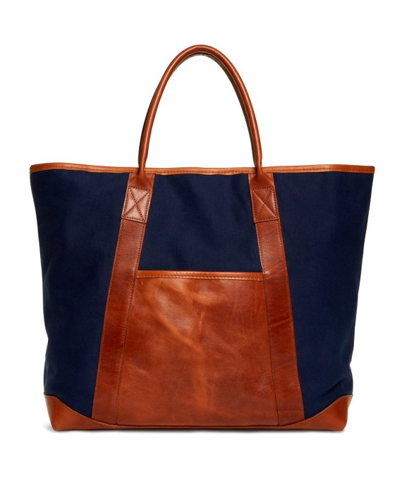 Canvas and Leather Tote Navy