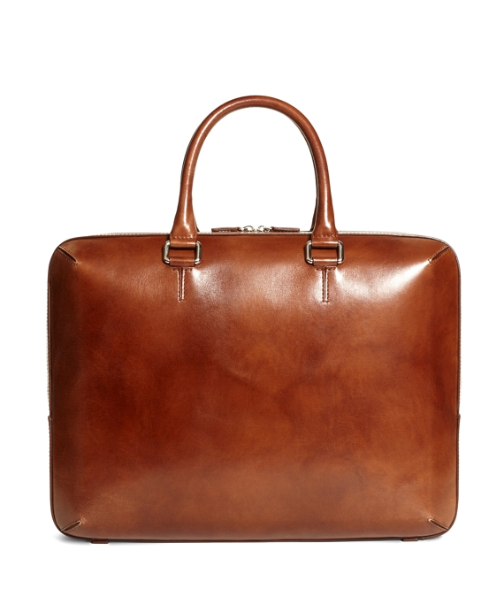 Burnished Leather Briefcase Cognac