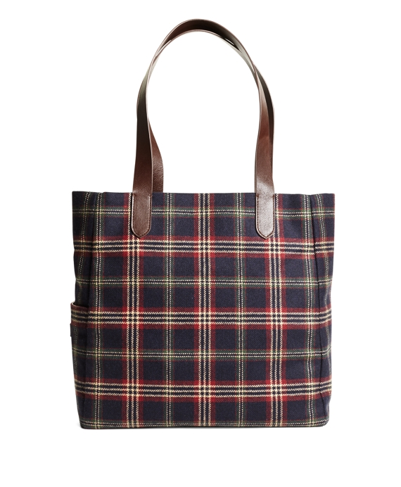 Brooks Brothers Signature Tartan Tote Navy