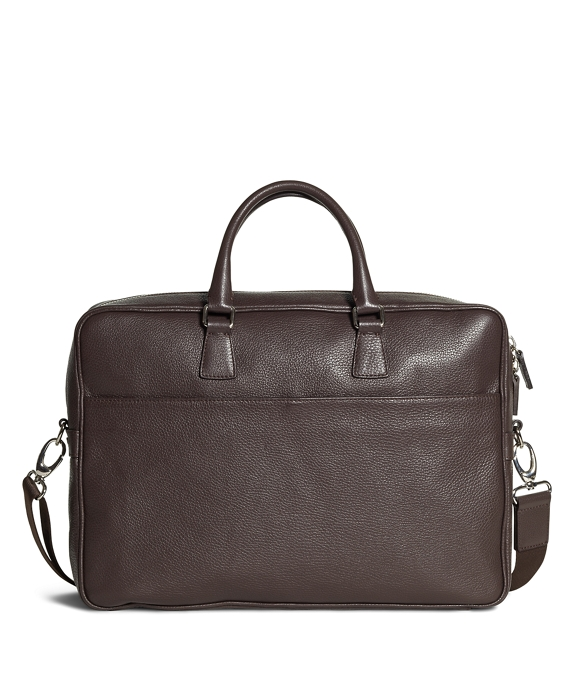Pebble Leather Slim Briefcase Brown