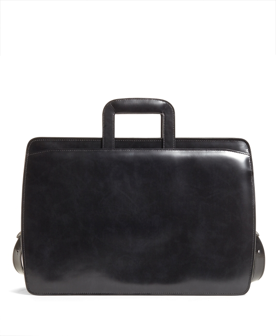 Slide Handle Leather Briefcase