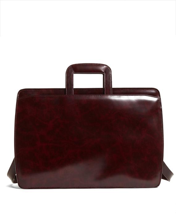 Slide Handle Leather Briefcase