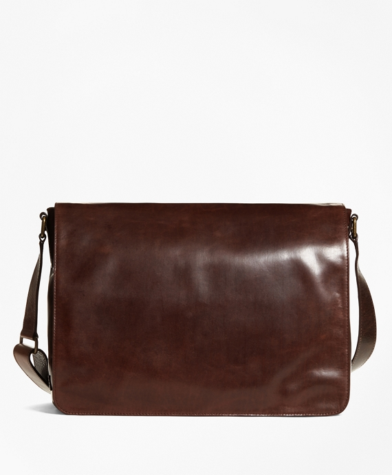 Distressed Leather Messenger Brown