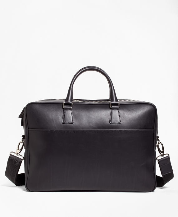 Leather with Black Watch Briefcase Black