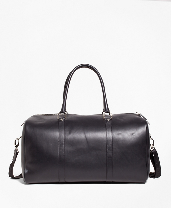 Leather with Black Watch Duffle Bag Black