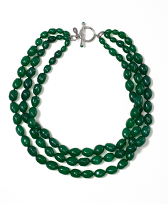 Green Three Row Nugget Torsade Necklace