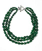 Green Three Row Nugget Torsade Necklace