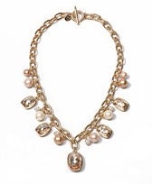 Gold Wash Crystal Pearl Charm Necklace