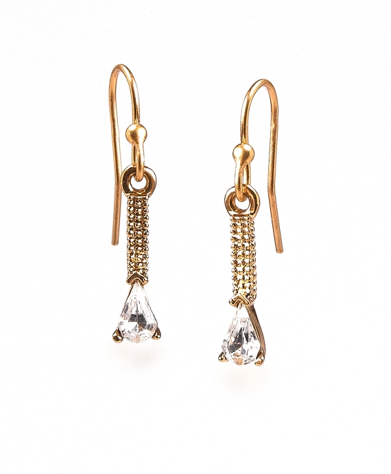 Crystal Antique Drop Earrings Gold