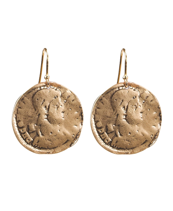 Hammered Disc Earrings Gold
