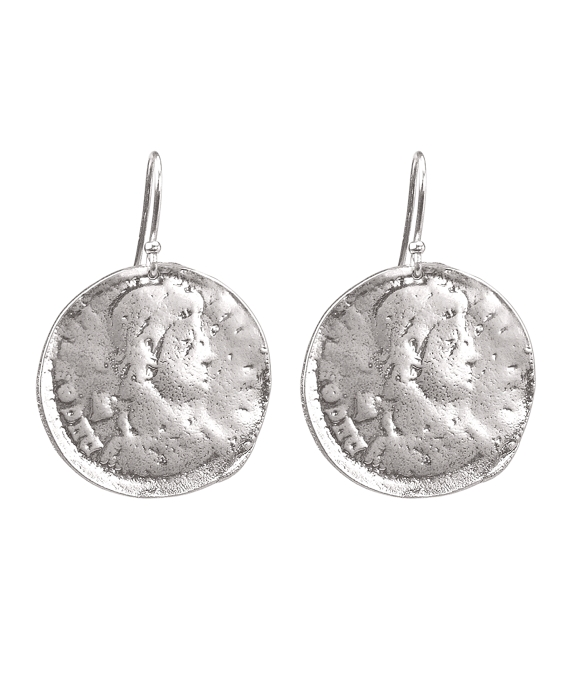 Hammered Disc Earrings Silver