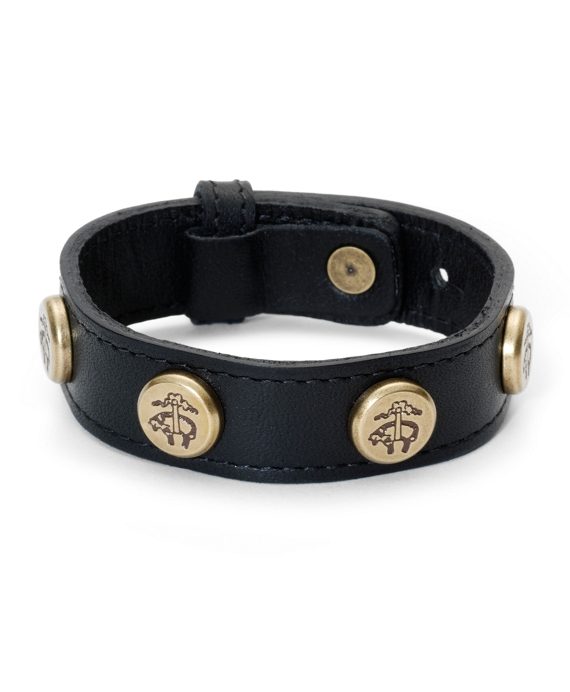 Leather Bracelet with Golden Fleece® Rivets Black