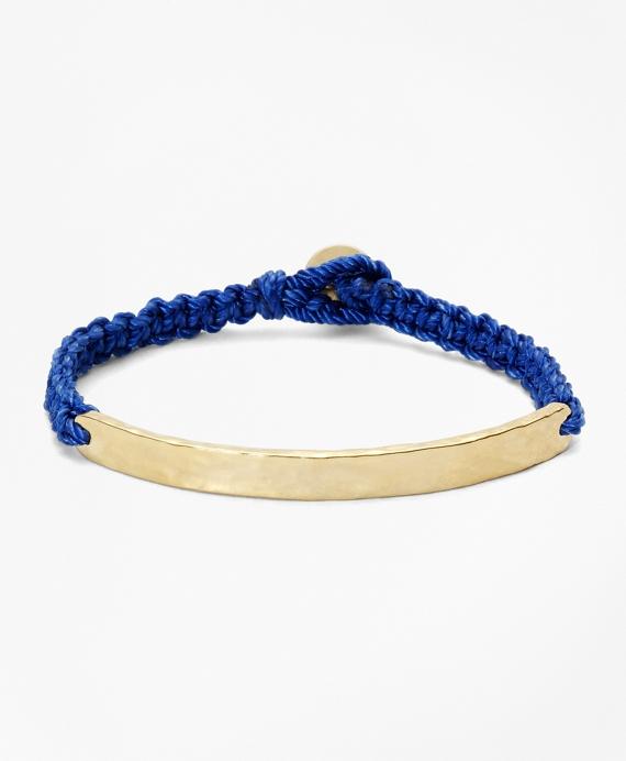 Hammered Metal Silk Cord Bracelet Blue