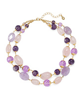 Amethyst Rose Quartz Two-Row Necklace