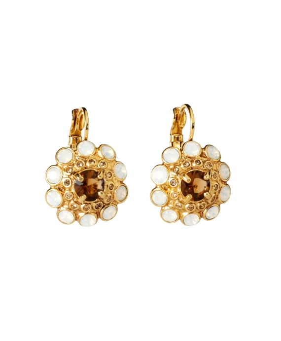 Austrian Floral Drop Earrings Ivory-Gold
