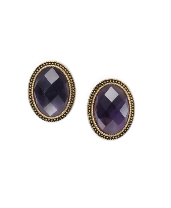 Amethyst Button Earrings Amethyst-Gold