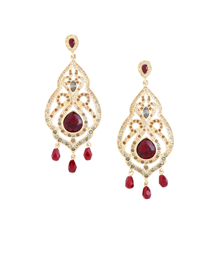 Buy Bordeaux Pave Chandelier Earrings, see details about this diamond and more