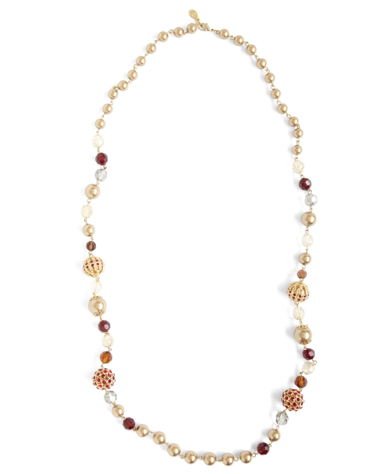 Mixed Stone and Bead Strand Necklace Burgundy-Gold