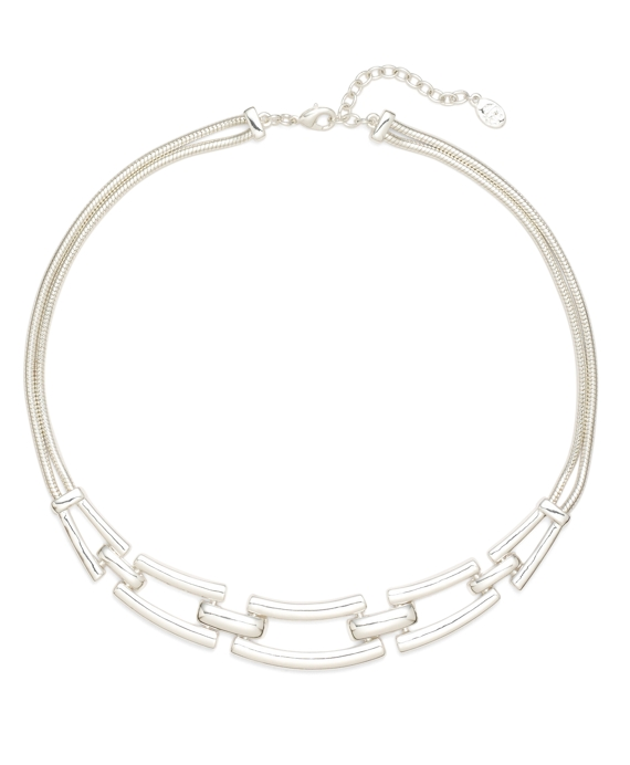 Rectangle Linked Collar Necklace Silver