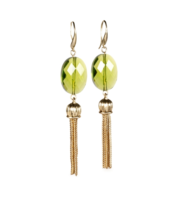 Stone and Tassel Drop Earrings Olive-Gold