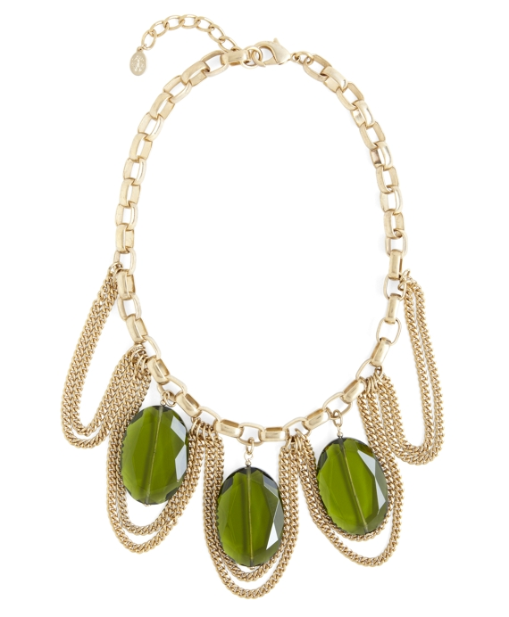 Stone and Chain Necklace Olive-Gold