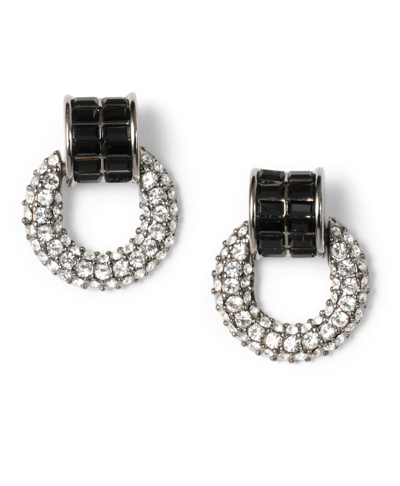 Crystal Pave Doorknocker Earrings Jet-Crystal