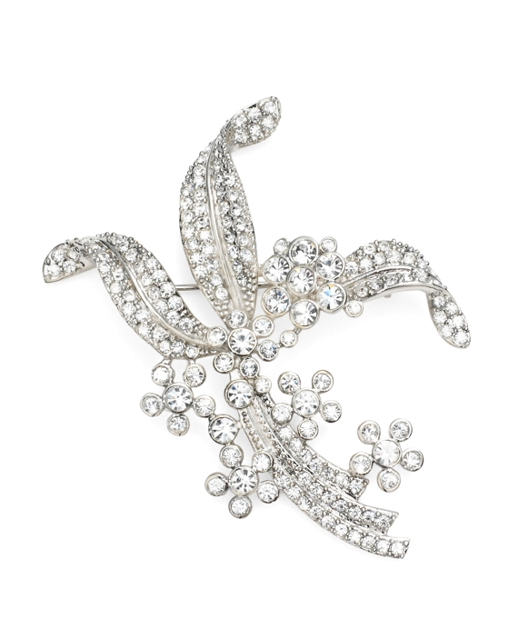 Austrian Crystal Pave Floral Brooch Crystal-Silver