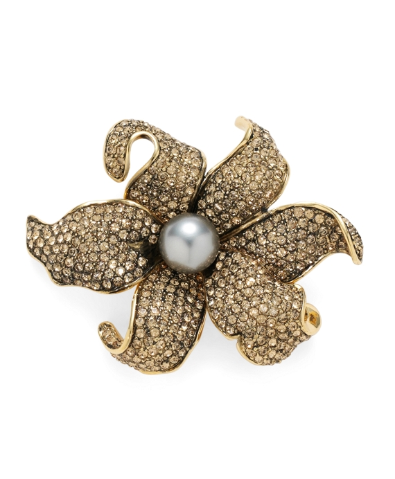 Austrian Crystal Pave Lily Brooch Gold-Grey