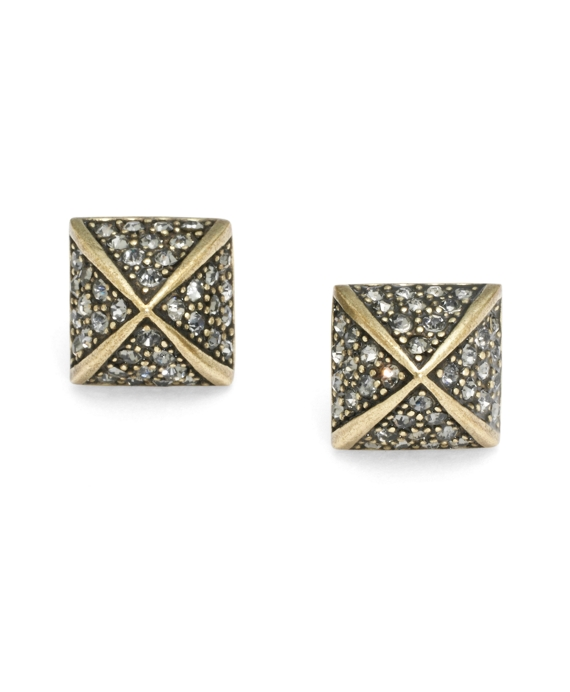 Pave Pyramid Studs Antique Gold