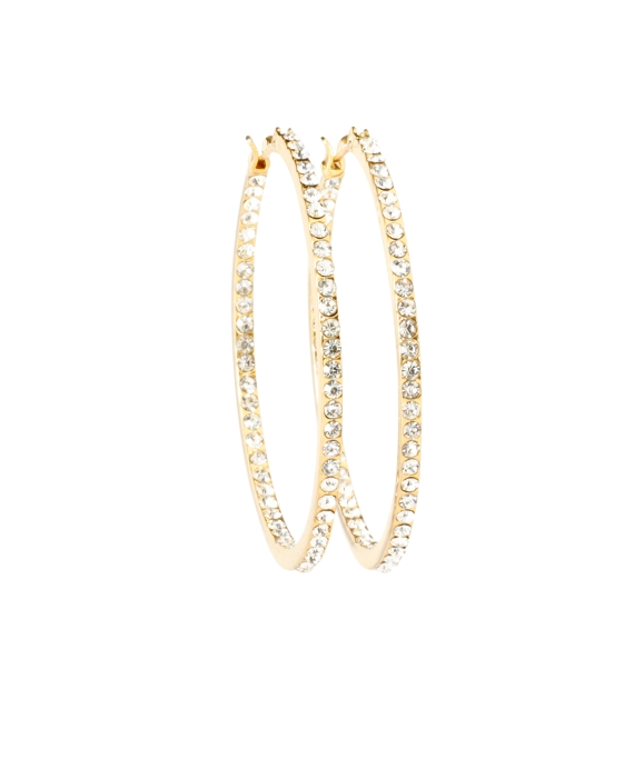 Inside Out Hoop Earrings Crystal-Gold